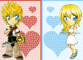 Roxas and Namine chibis by GuardianYashu