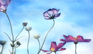 watercolor 3 - flowers and sky by WonderAiLin