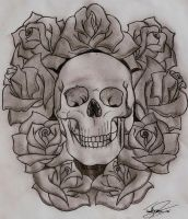 Skull and Roses by DevilHornBoi