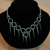 Silver and Green Spikes choker by Ichi-Black