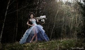 Blue silk overbust corset dress 2013 collection by Esaikha