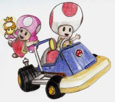 Toad and Toadette Kart by chibi22
