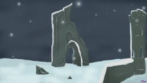 Broken Castle Background Snowy by MidnightPurpleDragon