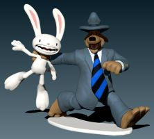 Sam and Max posed WIP by Vidal-Design