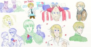 Hetalia: Traditional and Cardverse Doodles by ExclusivelyHetalia