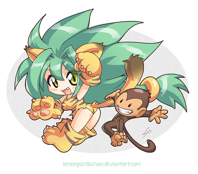Cham Cham and Paku Paku by lemonpandachan