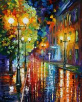 Twisted city by Leonid Afremov by Leonidafremov