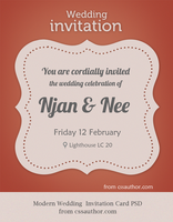 Modern Wedding Invitation Card PSD for Free by cssauthor
