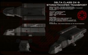 Delta-class DX-9 stormtrooper transport ortho by unusualsuspex