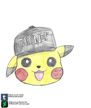 Pikachu with Top Nep hat shuffle icon by Pikafan09