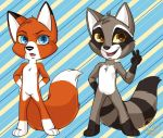 Fox and Raccoon in Color by KittMouri