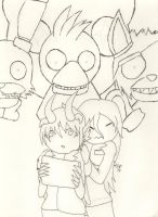 Kirby and I Five Nights at Freddy's (outline) by Aurora-ASB