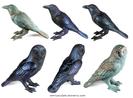 New Crow and Owl Familiars - Now Available by emilySculpts