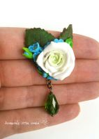 Brooch White Rose by anarniell