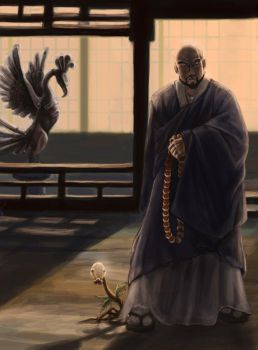 Tin Tower Monk and Bellsprout by Leashe
