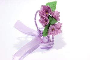 Violet flowers bracelet of polymer clay by fion-fon-tier