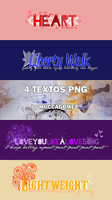 Pack 4 textos PNG. by MiiccaGomez