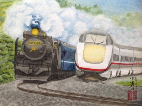Steam and Diesel by drawing425