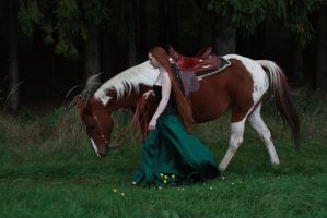 STOCK red haired woman and horse III by MyladyTane