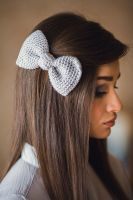 Multipurpose Knited Silver Gray Tie Bow by NatalieKnit