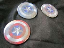 Captain America's Shield 2.25'' Buttons by SnowBunnyStudios