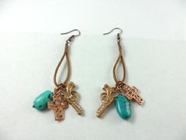 Leather Turquoise Patinaed Western Charm Earrings by DryGulchJewelry