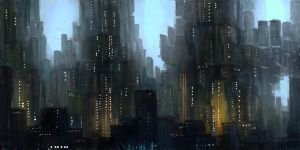futuristic city by thlbest