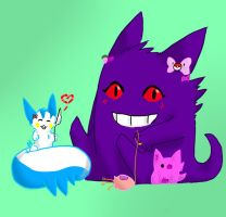 Pachi and Gengar by LexisSketches