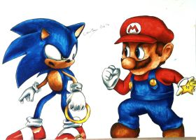 Sonic and Mario - Console Wars by connieiscrazy