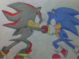Sonic and Shadow, again XD by Rosalie-Sebastiane