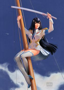 Satsuki - Kill La Kill Homage after Elvgren by fantasio