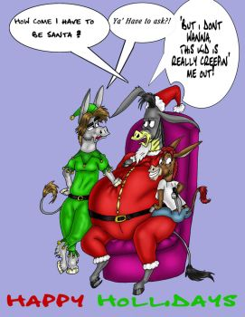 Merry xmas burro and Sarcy by FatAssClub