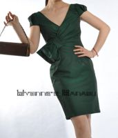 Green Cotton Bow Shirft Dress9 by yystudio