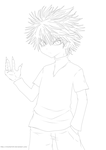 killua lineart by xhunter924