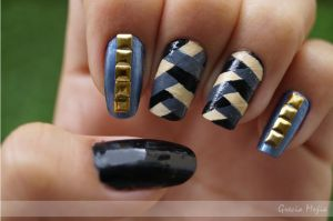 Nailart black and gray by yuki365