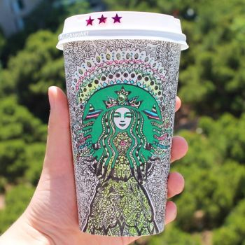 Starbucks Cup Art by Aleannart