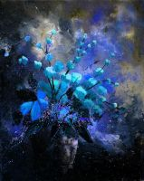 still life blue flowers by pledent