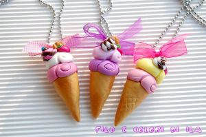 Necklaces fimo  Ice cream by FiloecoloridiIla