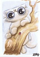 Funny cat watercolour ladybird tree by KingZoidLord