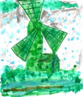 Green Rainy Windmill by SonicClone