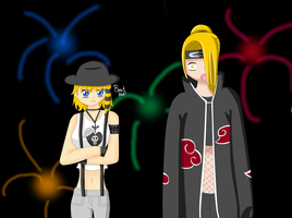 Sandy and deidara by sugared-spice