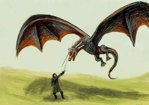 Drogon with Needle Duct-taped to his head by KellyCDB