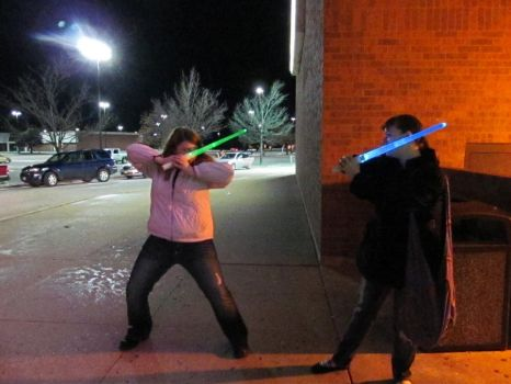 lightsabers outside the theatre by Cloud9Dreamer