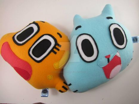 Gumball and Darwin plush pillows by LittleCritters00