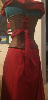 Little Red Corset Outfit Back by obeytherandomness