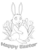 Happy Easter Card Lineart by OtakuEC
