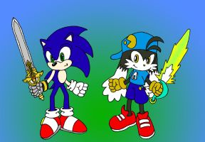 Klonoa and Sonic swordsmen by Wakeangel2001