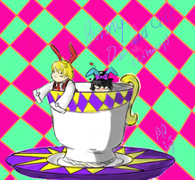 Oz and gil bunny in tea cup! by OrigamiSushiPanda