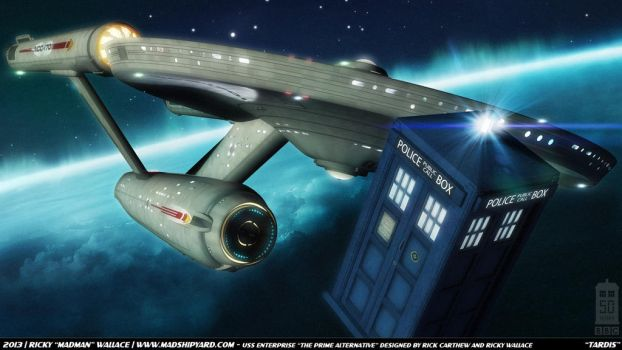 Doctor Who 50th - Enterprise and Tardis by madman1701a