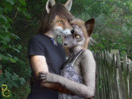Young Werefoxes in Love by pythos-cheetah